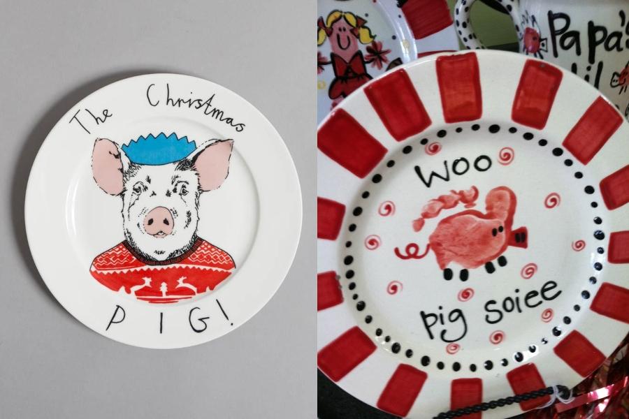 Тарелки с изображением свинок