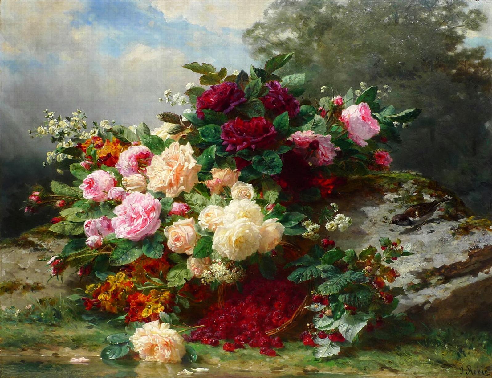 Натюрморт с цветами Жана Батиста Роби