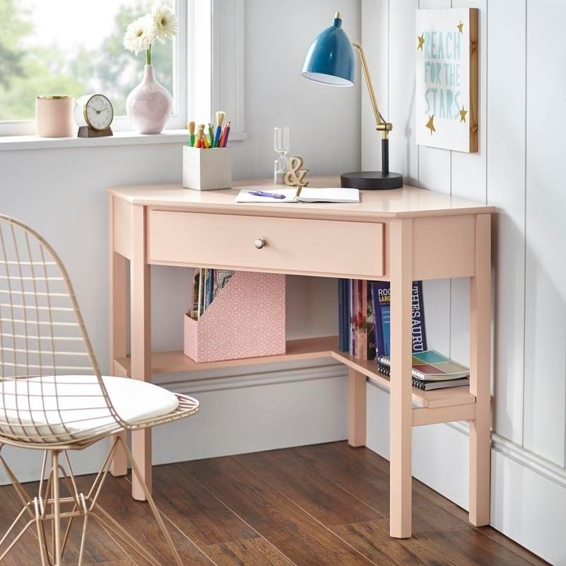 Небольшой письменный угловой стол с ящиком