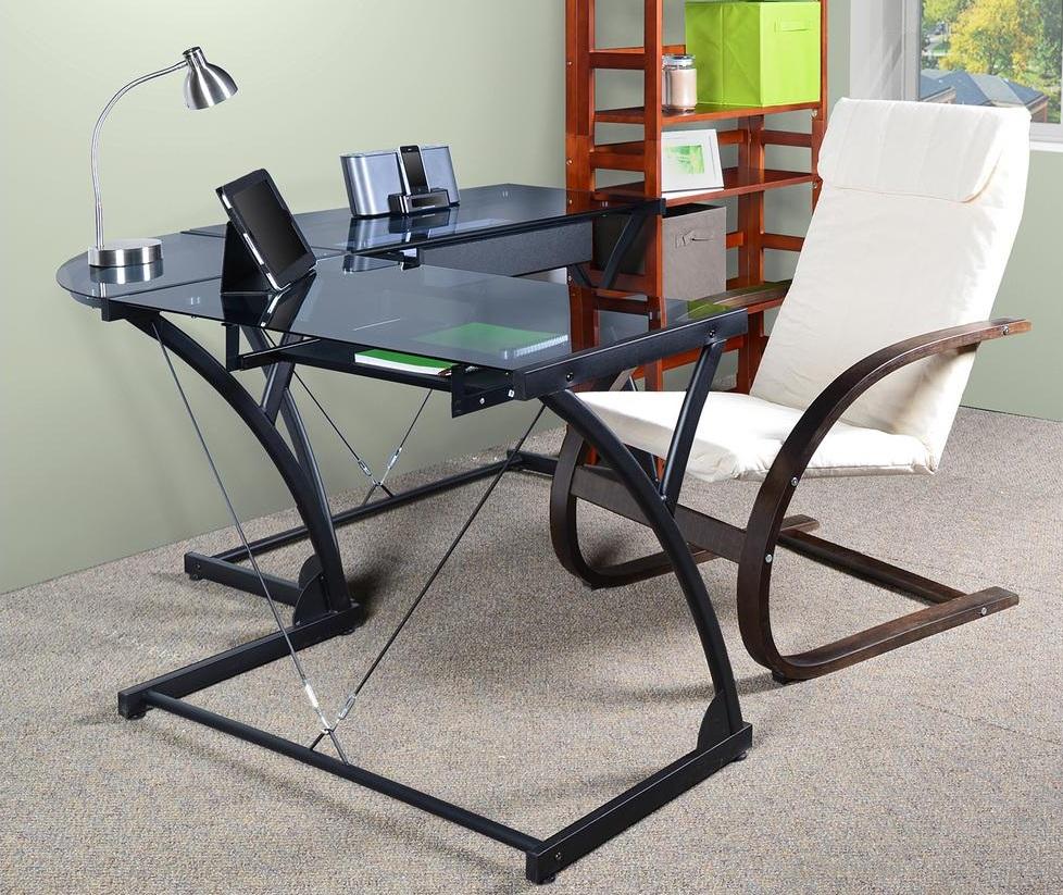 Угловой письменный стол из стекла