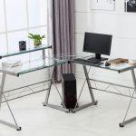 Фото 20: Стеклянный компьютерный угловой стол