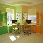 Фото 51: Угловые письменные столы на двоих детей