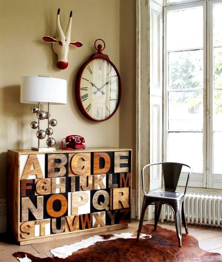 Красивые комнаты с буквами на стенах
