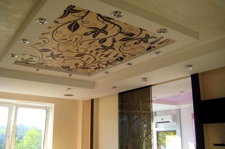 Тканевые натяжные потолки на фото