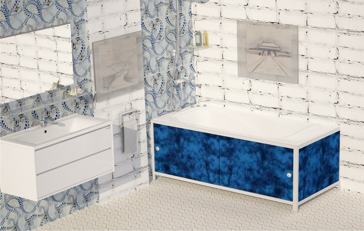 Экран под ванну Метакам Ультралегкий черный мрамор