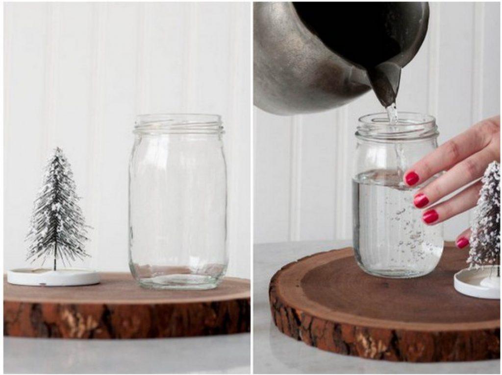 Изготовление снежного шара, заливание воды