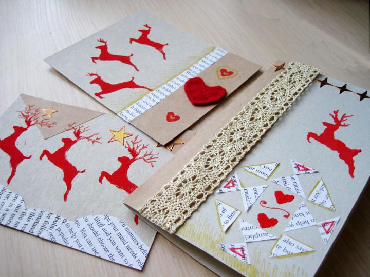 Новогодняя открытка скрапбукинг с оленями