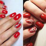 Фото 76: красный маникюр на короткие ногти