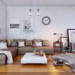 Фото 45: Белая кирпичная стена в интерьере современной гостиной