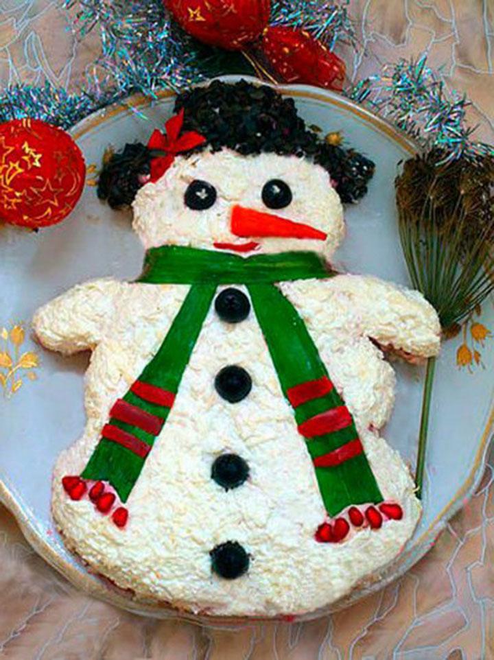 Подача салата в виде снеговика