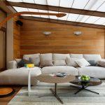 Фото 46: Деревянные стены в интерьере современной гостиной