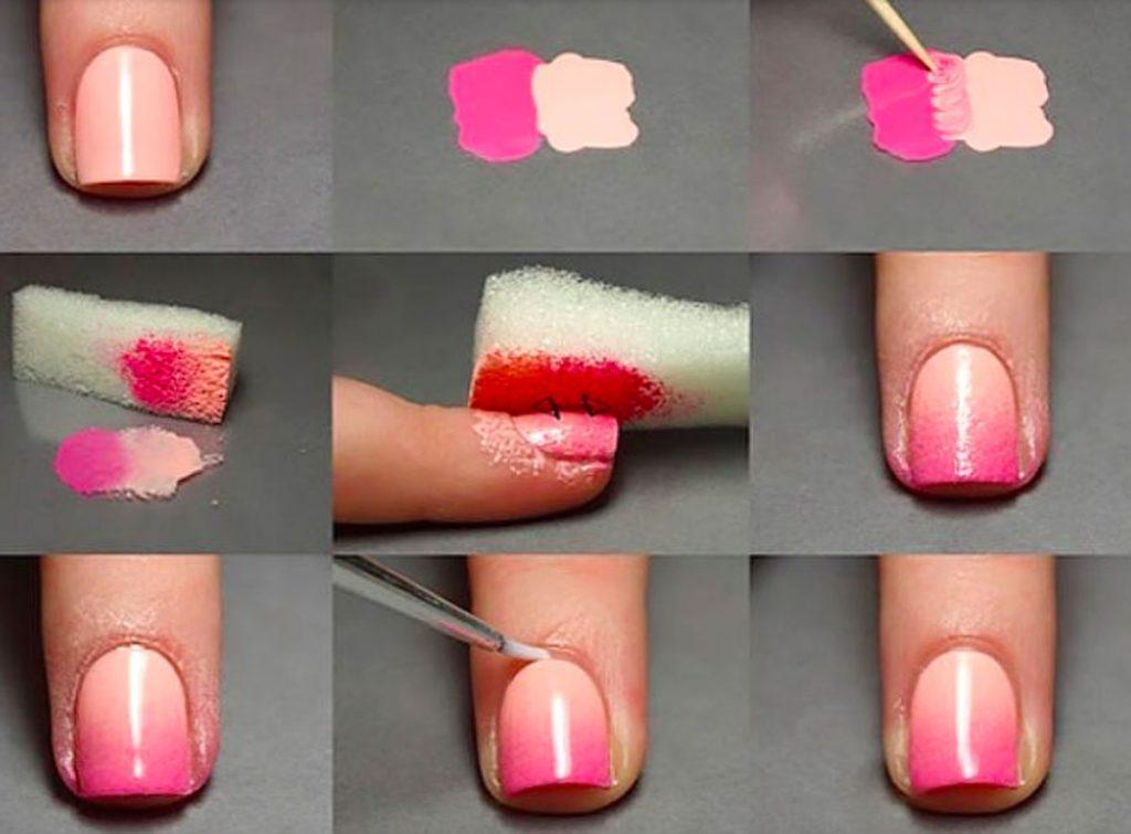 Градиентный дизайн ногтя при помощи губки
