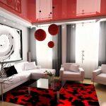 Фото 52: Красный глянцевый потолок в современном дизайне гостиной