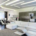 Фото 57: Led - подсветка ниш потолка в современной гостиной