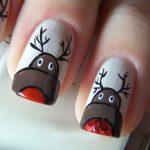 Фото 43: Рисунок с оленями на ногтях