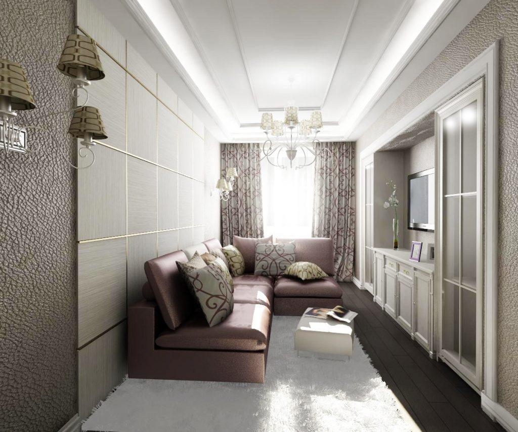 Светлый потолок для маленькой современной гостиной