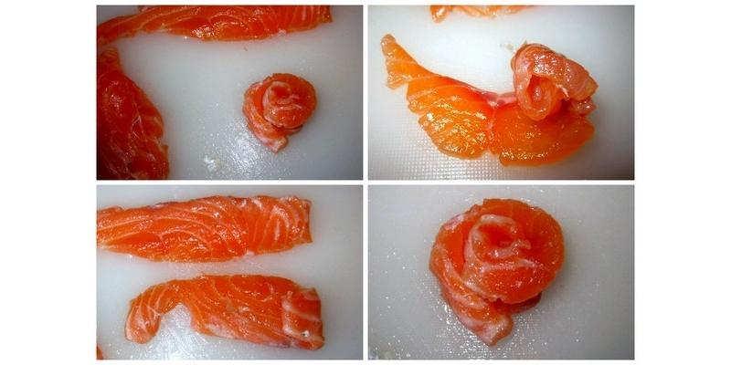 Изготовление розы из лосося