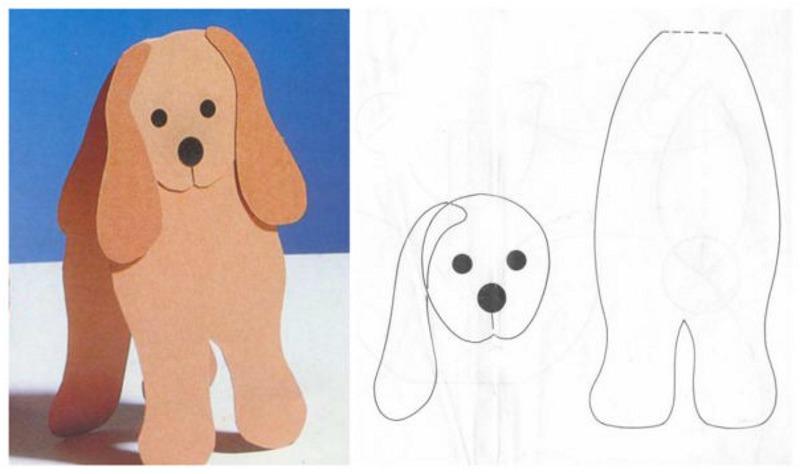 Шаблон открытки в виде собачки
