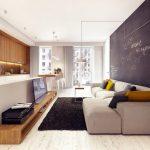 Фото 47: Стена - доска для рисования в интерьере современной гостиной