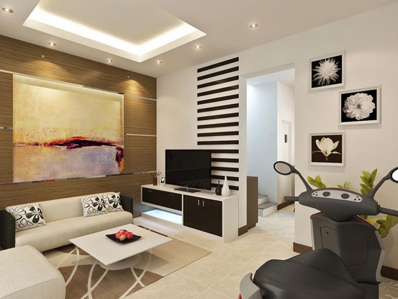 Точечное освещение в современной гостиной