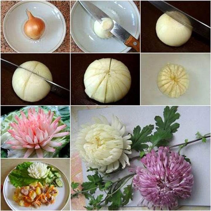 Изготовление цветка из лука