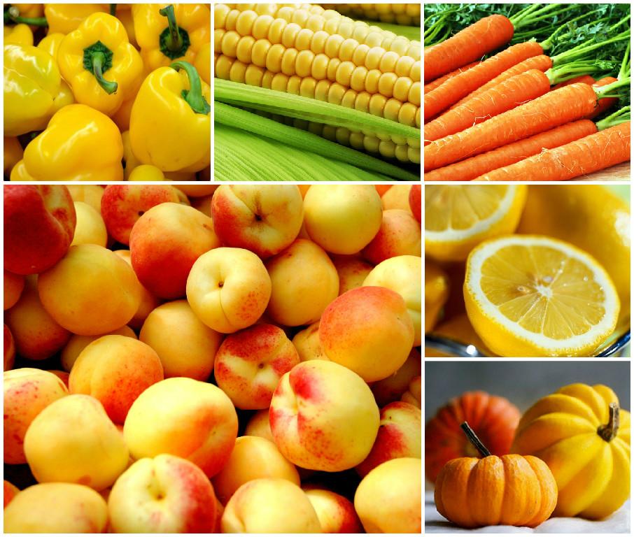 Желтые и оранжевые овощи и фрукты