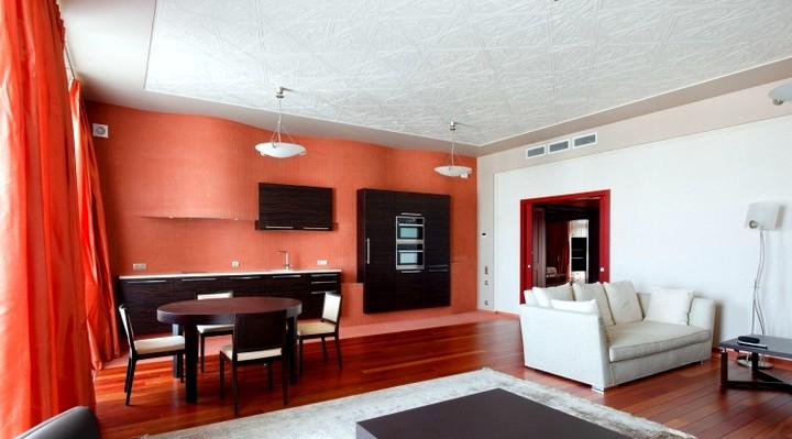 Терракотовый цвет в интерьере кабинета