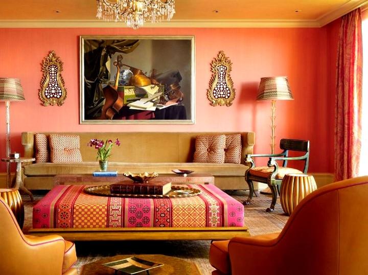 терракотовый цвет при оформлении комнаты