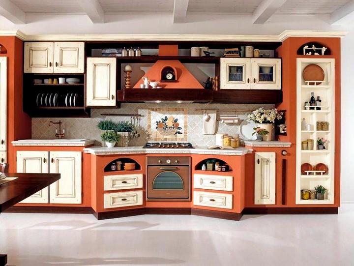 терракотовый цвет при оформлении кухни 2