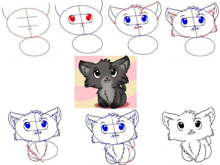 Этапы рисования котенка
