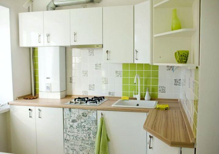 Размещение газовой колонки на маленькой кухне