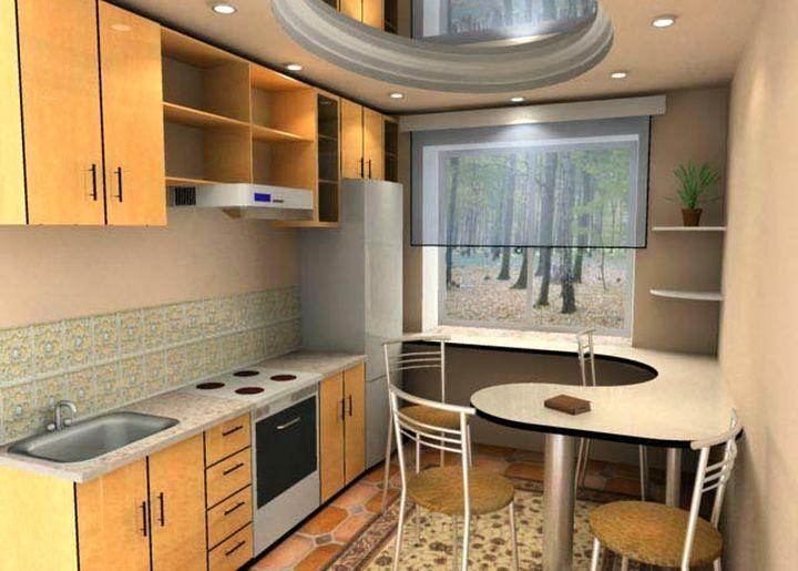 Комфортное расположение мебели на маленькой кухне