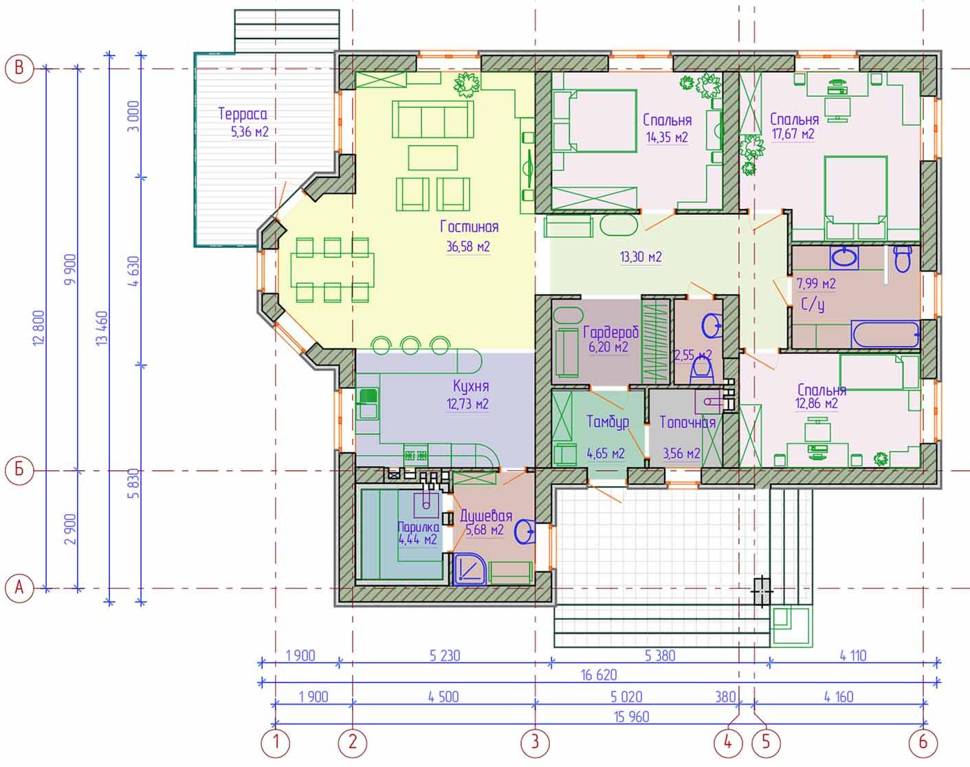 Проект одноэтажного дома с парилкой