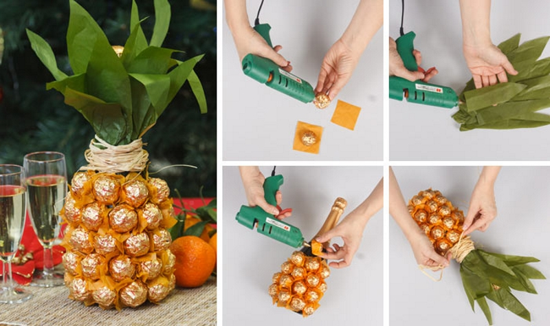 Отделка шампанского конфетами в виде ананаса