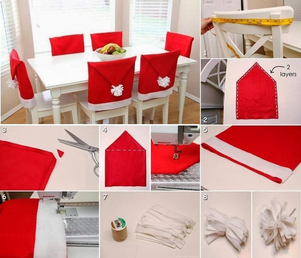 Изготовление новогоднего чехла для стульев