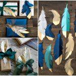 Фото 39: Декор подарка перьями