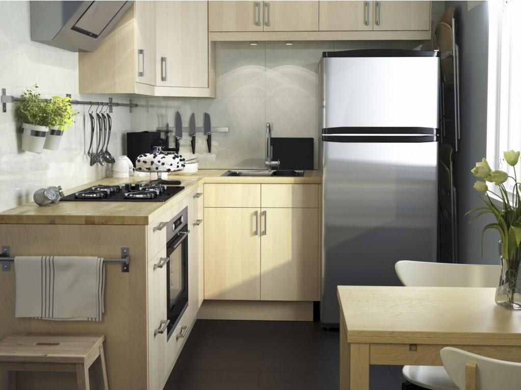 Планировка г-образной формы для маленькой кухни