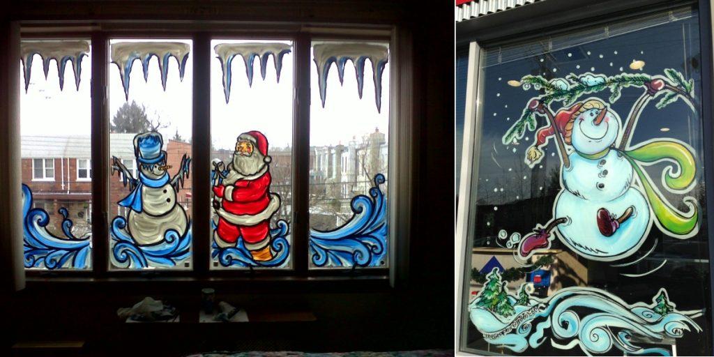 Красочная новогодняя роспись окна