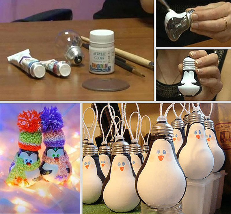 Пингвины из старых лампочек