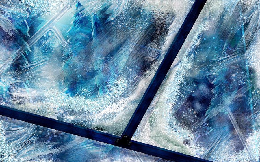 Морозные узоре на окне