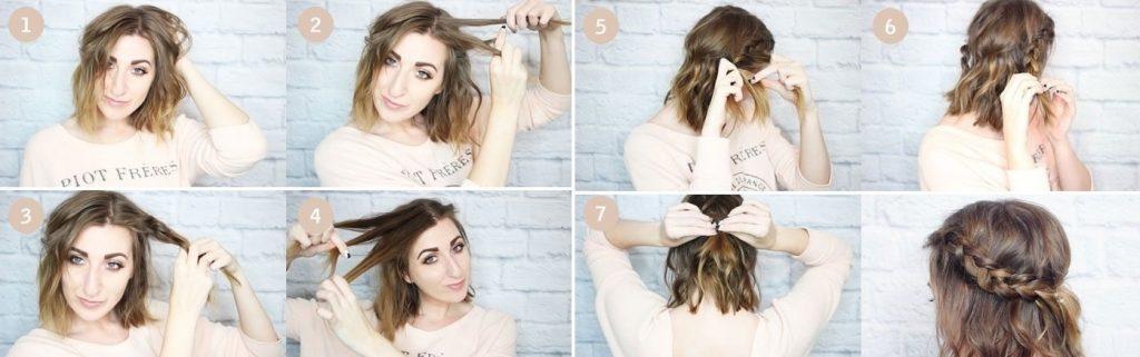 Плетение кос для простой прически из каре