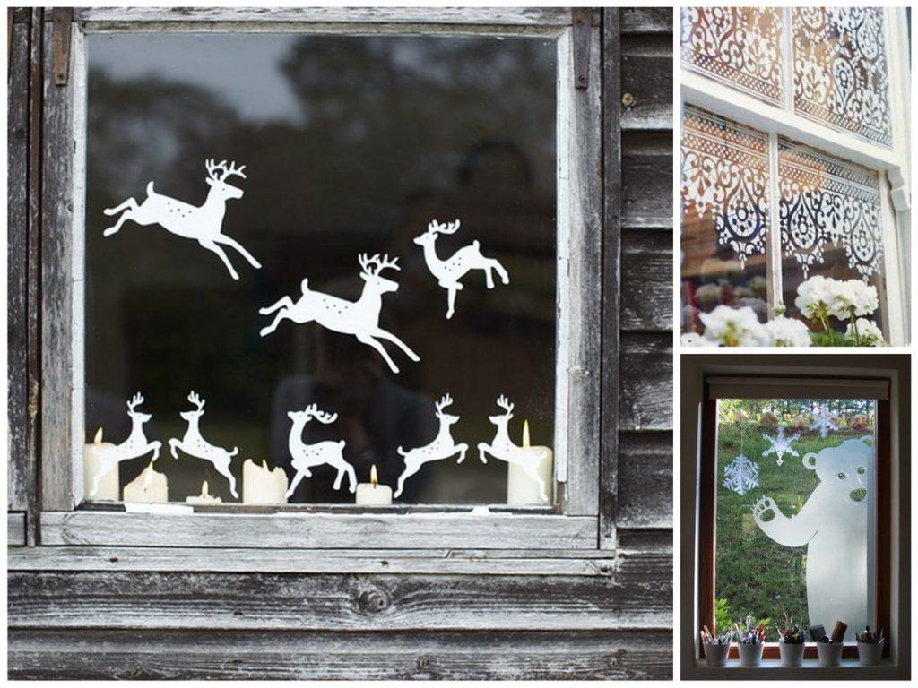 Силуэтные рисунки для новогоднего окна