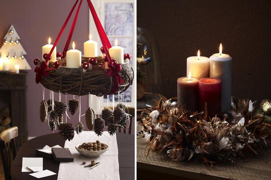 Свечи в рождественском интерьере