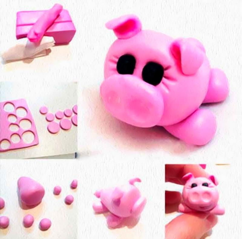 Лежачая свинка из пластилина