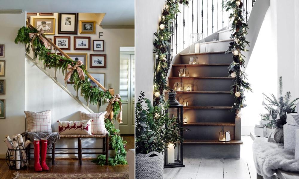 Украшение лестницы хвоей