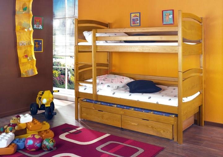 двухярусная кровать с ящиками для белья