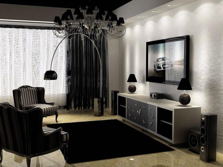 Черно-белый интерьер с серыми оттенками
