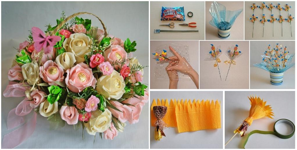 Букет из цветов и конфет как сделать