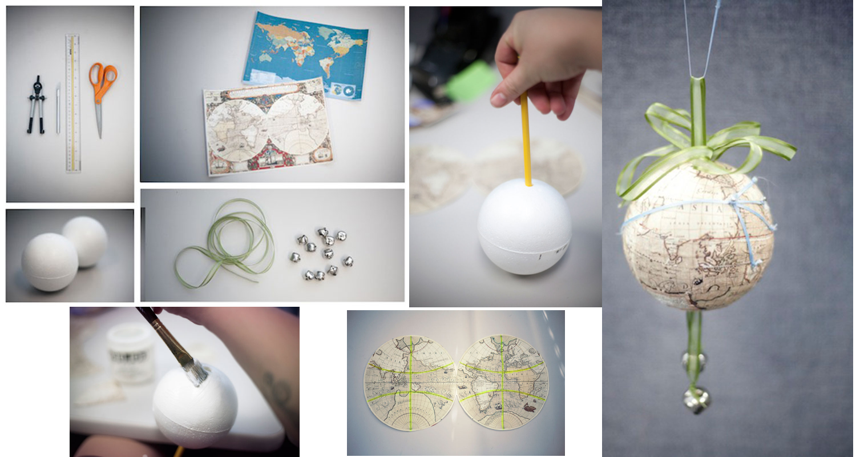 Декупаж новогоднего шара с изображением карты