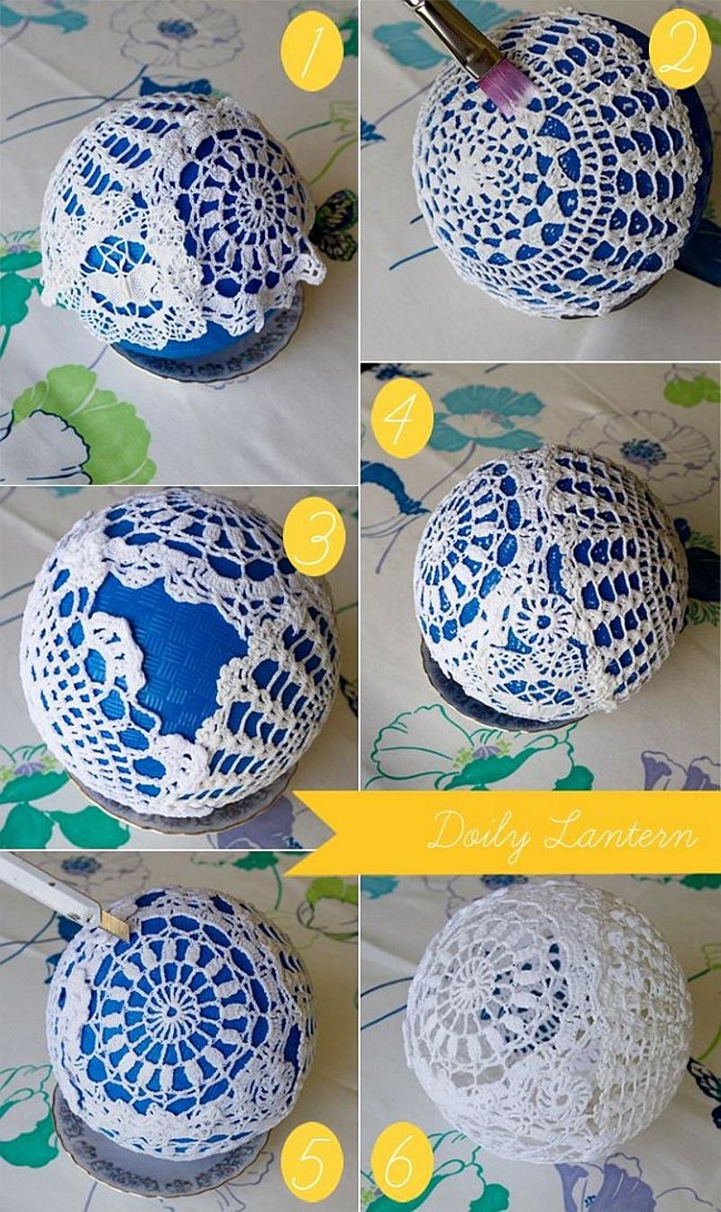 Изготовление новогоднего шарика из ажурных салфеток